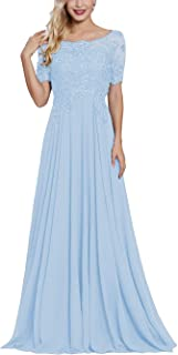 Lace Applique Beaded Mother of The Bride Dresses Long with Sleeves Bateau Neck Maxi Formal Evening Gown