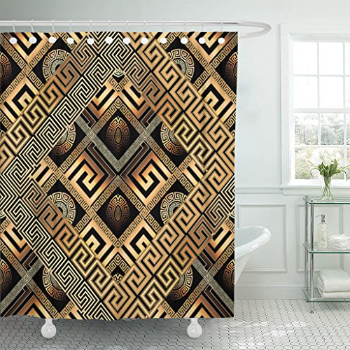 TOMPOP Shower Curtain Modern Meander Abstract Black Gold Greek Key 3D Geometric Waterproof Polyester Fabric 72 x 72 Inches Set with Hooks
