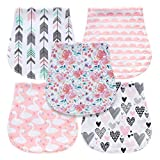 5-Pack Baby Burp Cloths for Girls, Triple Layer, 100% Organic Cotton, Soft and Absorbent T...
