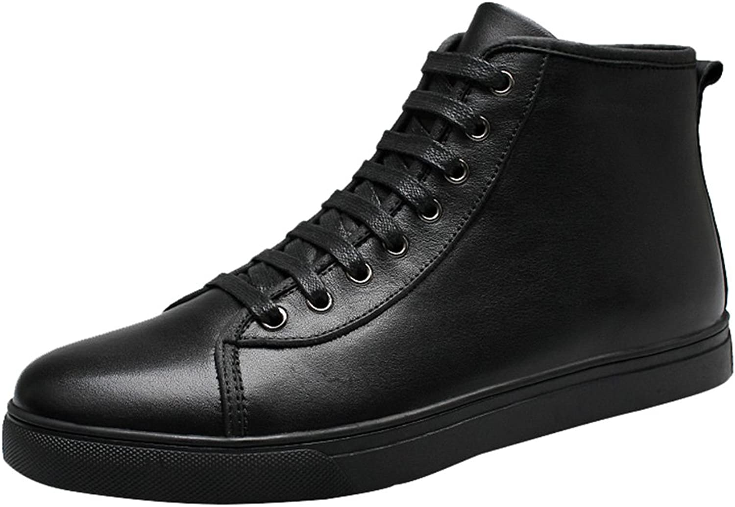 Snowman Lee Men's Mid-top Leather Causal Winter shoes Smooth Upper Fashion Sneaker Black