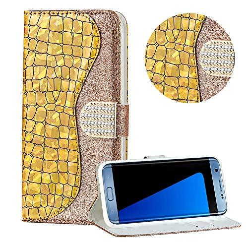 Diamant Brieftasche Hülle für Galaxy S7,Gold Wallet Handyhülle für Galaxy S7,Moiky Ultra Dünn Stilvoll Laser Glitzer Farbe Block Klappbar Stand Silikon Handytasche