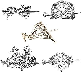 F Fityle 5 Pieces Viking Celtic Knot Hair Clip Hairpins- Viking Hair Accessories Hair Barrettes Long Hair Pin Hair Sticks ...