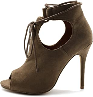 Women's Shoe Faux Suede Ghillie Lace-up Peep-Toe Stiletto High Heel Booties