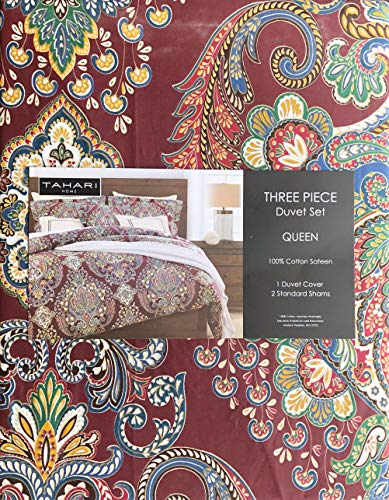 Tahari Home Bedding 3 Piece Queen Size Luxury Duvet Comforter Cover Pillowcases Shams Set Paisley Medallions Pattern in Shades of Red Blue Green Taupe White