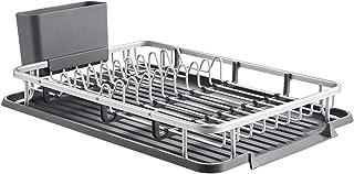 kingrack escurreplatos Recipiente para Lavar Platos de Aluminio, Rejilla para Lavar Platos con Soporte para Utensilios de Cocina, escurridor de Platos de Cocina wkuk112055