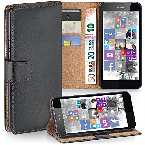 MoEx Premium Book-Case Handytasche kompatibel mit Nokia Lumia 630 | Handyhülle mit Kartenfach und Ständer - 360 Grad Schutz Handy Tasche, Dunkel-Grau