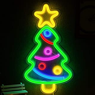 Xmas Tree Neon Light, Christmas Festival LED Neon Light Wall Decor Art Neon Sign Light for Home Decoration,Bedroom, Lounge, Office, Wedding, Christmas, Valentine's Day Party Operated by USB