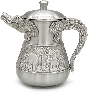 Oriental Pewter - Pewter Milk Container -Crocodile- Hand Carved Beautiful Embossed Pure Tin 97% Lead-Free Pewter Handmade in Thailand