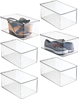 """mDesign Stackable Closet Plastic Storage Bin Box with Lid - Container for Organizing Mens and Womens Shoes, Booties, Pumps, Sandals, Wedges, Flats, Heels and Accessories - 5"""" High Clear Size: Pack of 6"""