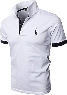 GHYUGR Men's Short Sleeve Polo Shirts Giraffe Contrasting Colors Golf Tennis T-Shirt