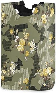 Mnsruu Panier à linge pliable avec poignées Motif camouflage et fleurs
