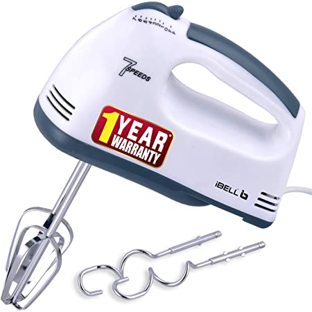 iBELL IBLWHITES03NEW Whites Electric Hand Mixer, Blender, Beater and Cream Maker with 7 Speed Control, 2 Dough Hooks and 2 Beaters(White)
