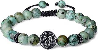 COAI Bracciale Leone in Pietre Naturali Benefiche, Bracciale Shamballa da Uomo Regolabile con Amuleto Leone in Rame