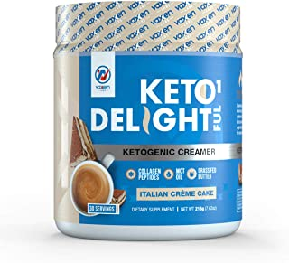 Coffee Keto Creamer (30 Servings) - Grass-Fed Butter, Coconut Oil, MCT Oil & Collagen Peptides - Zero Carbs, 100% Gluten & Dairy Free, Absorbs and Digests Easy, Delicious Italian Crème Cake Flavor