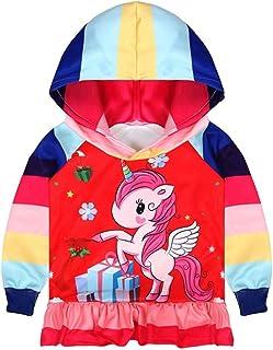 Thombase Baby Girls Zipper Jacket Unicorn Eve Christmas Tree Snow Party Hoodie Age 2-8 Years