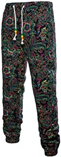 Mens Fashion Floral Print Trousers Sweatpants Elastic Waist Creative Jogger Pants
