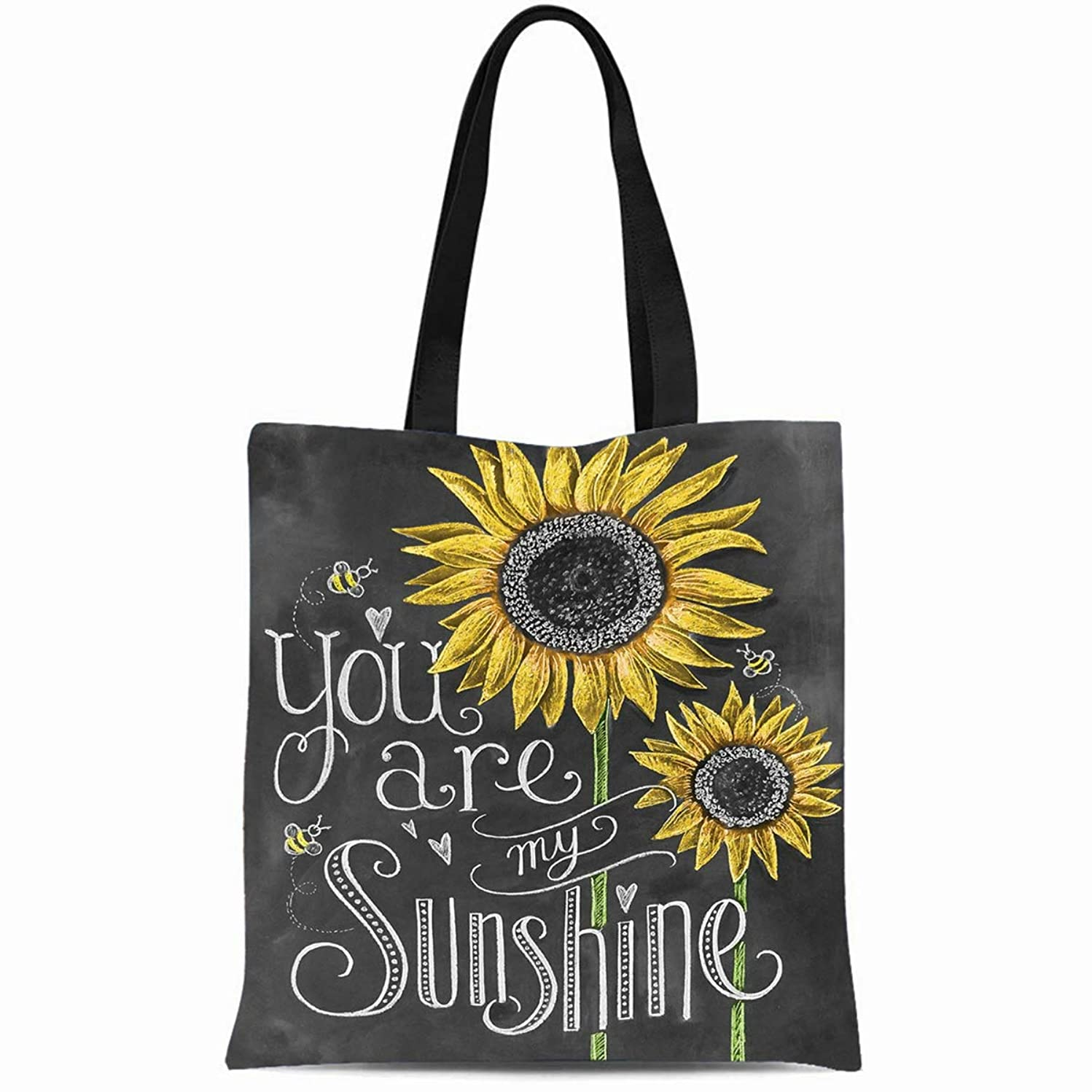Ahawoso Canvas Tote Bag 14x16 Inches You Are My Sunshine Sunflowers Chalk Painting Durable Reusable Custom Shopping Shoulder Grocery Bag