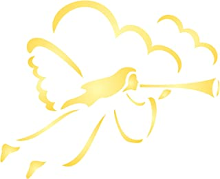 """Flying Angel Stencil (size 4""""w x 3.25""""h) Reusable Stencils for Christmas Cards or Decorations- Best Quality Christmas Scrapbooking Décor & Card Ideas - Use on Walls, Floors, Fabrics, Glass, Wood, Terracotta, and More…"""