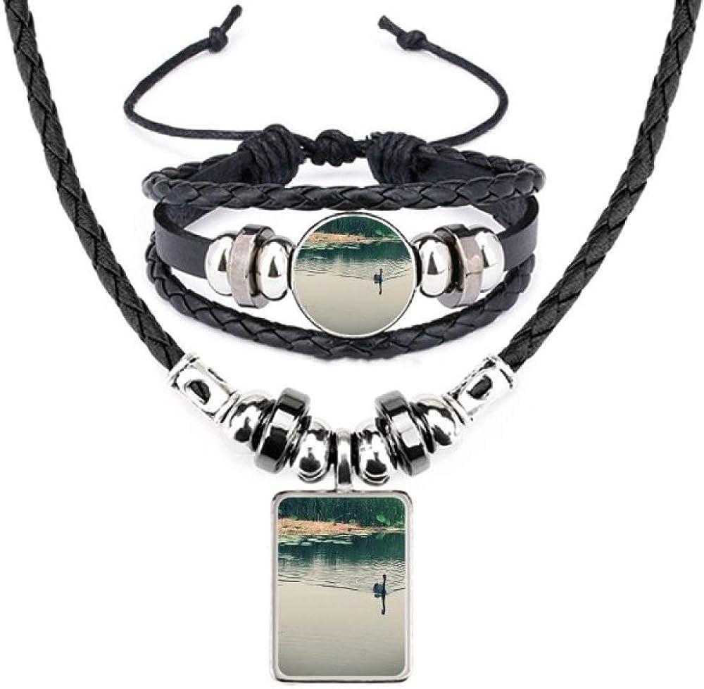 Wild Ducks Lake Photography Detroit Mall Leather Necklace security Se Jewelry Bracelet