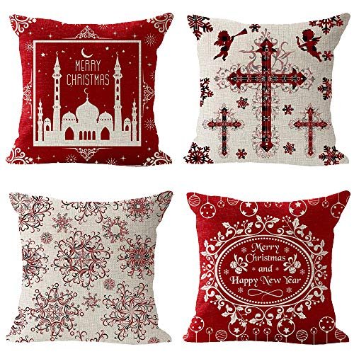 Set of 4 Merry Christmas Church Ball Bell Leaves Star Moon Snowflake Cross Angel Pattern Black Red Plaid Cotton Linen Square Throw Waist Pillow Case Decorative Cushion Cover Pillowcase Sofa 18'x 18'