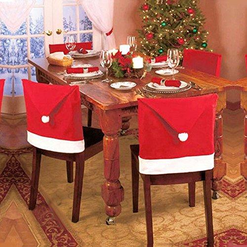 Ansenesna Stuhlhussen Weihnachten Deko Elch Weihnachtsmann Schneemann Husse Rentier Stuhlüberzüge Christmas Dekoration Für Festlich Party (60x50cm Rot)