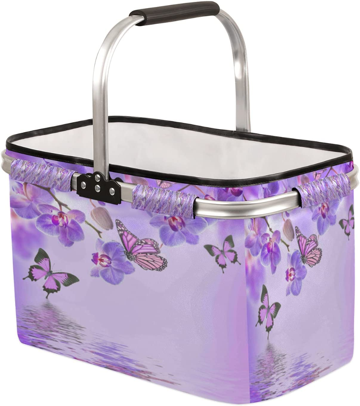 Collapsible Market Basket with Max 83% OFF Strong Handle Soft Directly managed store Aluminum Frame