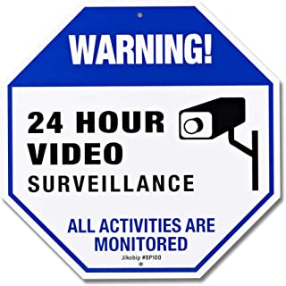 Camera Security Signs - Warning 24 Hour Video Surveillance Sign for Property Home Yard House- Large 12