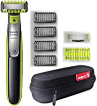 Philips Norelco Trimmer and shaver, For Face + Body With Bonus Smoocu Hard Case Travel Storage Carrying Bag for Philips Norelco OneBlade Hybrid, QP2630/90 QP2630/70 Black