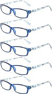 Kerecsen 5 Pairs Fashion Ladies Reading Glasses Spring Hinge Pattern Design Readers