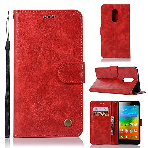 kelman Cover per Lenovo K6 Note Custodia PU in Pelle + Silicone TPU Flip Portafoglio Custodia per Cellulare - (JX05 / Red)