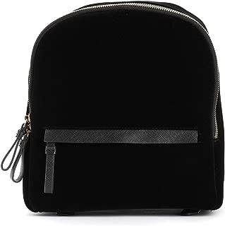 TrendsBlue Premium Black Velvet Casual Travel Backpack Shoulder Bag