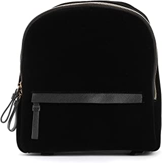 TrendsBlue Premium Black Velvet Casual Travel Backpack Shoulder Bag