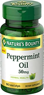 Nature's Bounty Peppermint Oil Pills and Herbal Health Supplement, Naturally Calming Dietary and Bowel Support, 50mg, 90 S...