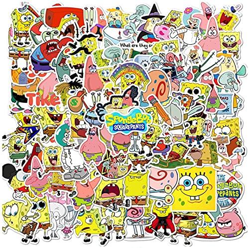 GSNY Pegatinas animadas de Bob Esponja Doodle para monopatín, Casco, portátil, Pegatinas Impermeables, 100 Hojas