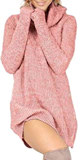 Howely Womens Turtleneck Pullover Sweater Mini Knit Long Sleeve Dress