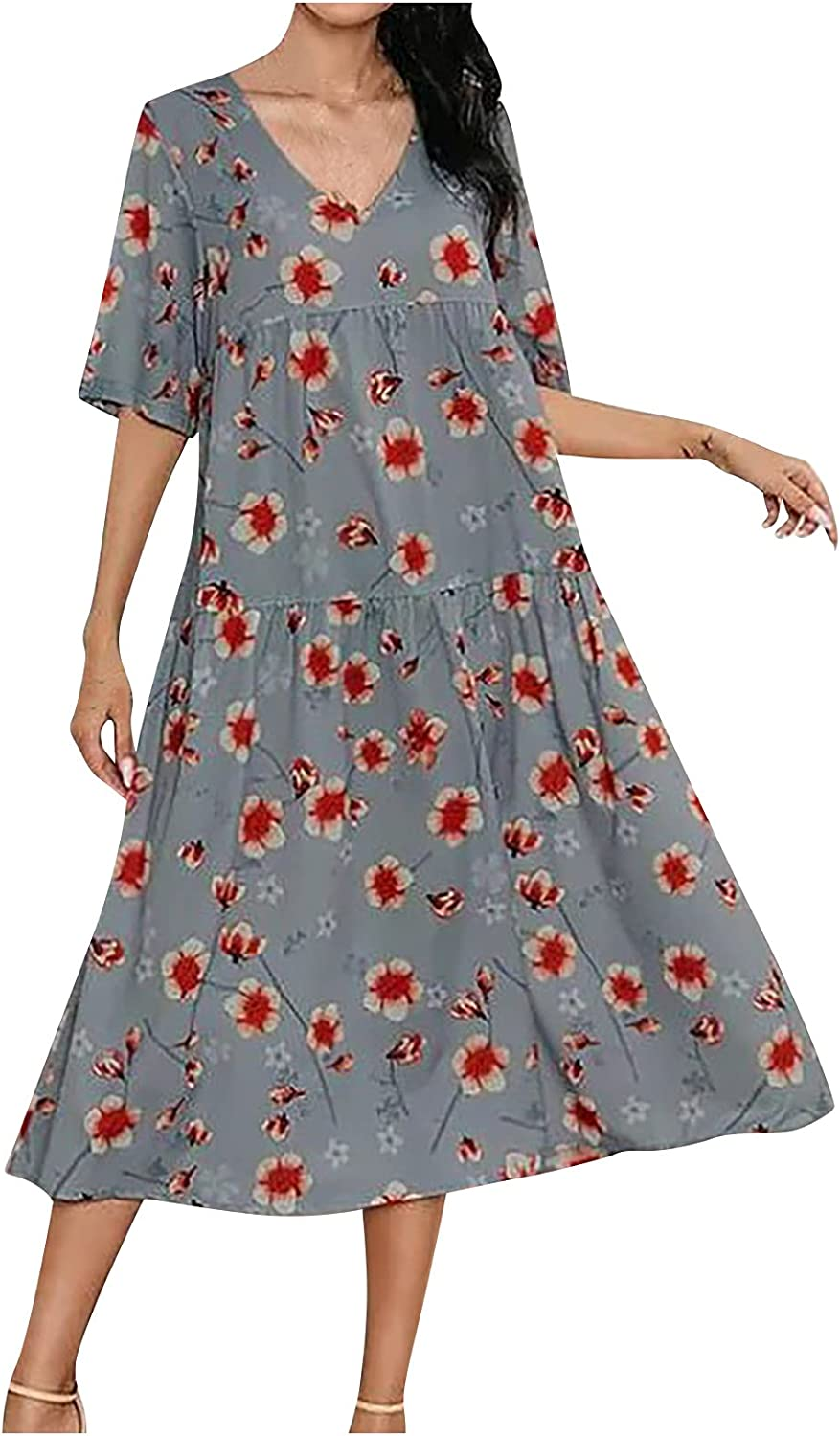 FRSH MNT Casual Dress for Womens Summer Retro Printed A-Line Ski