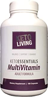 KetoLiving KetoEssentials Multivitamin for Adults - 180 Capsules - Supports Healthy Glucose & Insulin Levels - Promotes Keto & LCHF Diet Lifestyle - Gluten-Free - 30 Servings