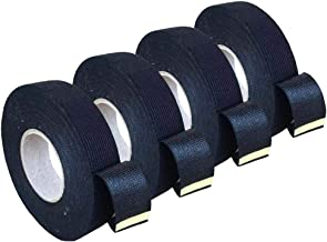 4 Rolls Wire Loom Harness Tape, Wiring Harness Cloth Tape, Black Adhesive Fabric Tape for Automobile Electrical Wire harnessing Noise Damping Heat Proof 19 mm X 15m