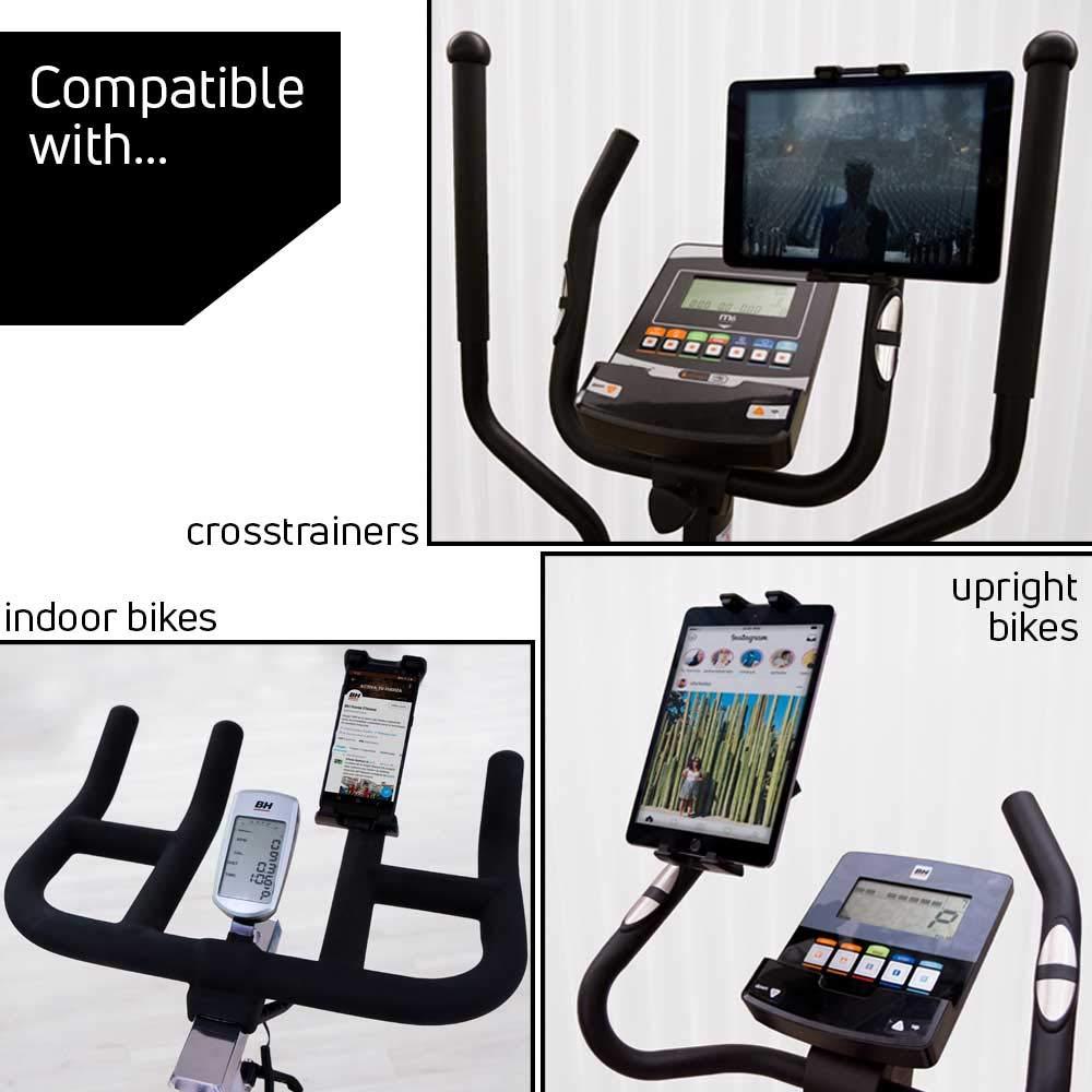 BH Fitness – Soporte para Smartphone y Tablet para Máquinas de Fitness 0190906 – Regulable Entre 4,7 y 13 Pulgadas: Amazon.es: Deportes y aire libre