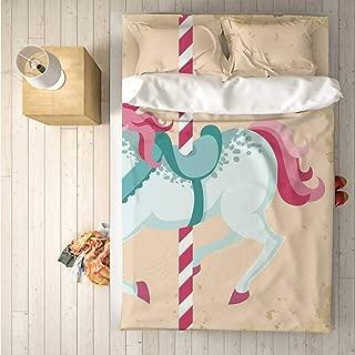 Horse Decor Soft 4 Piece Bedding Set,Vintage Carousel Horse Childhood Circus Joyful Amusement Park Girls Nursery for Bedroom,One Side Print : Singe