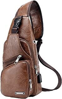 Large Leather Sling Bag with USB Charging Port Large Mens Crossbody Shoulder Bag Travel Sling Chest Bag (Light Brown)