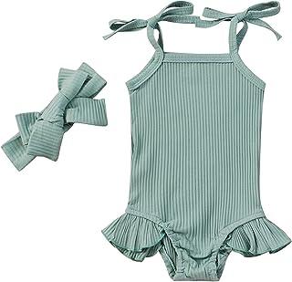 طفل الفتيات القطن رومبير الرضع أكمام التعادل النفس حزام بذلة الوليد كشكش ارتداءها مع عقال (Color : Green, Kid Size : 9M)