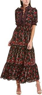 Womens Floral Elbow Sleeve Ruffle Maxi Dress X-Large Black/Garnet red