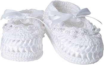 crochet baby booties with pearls