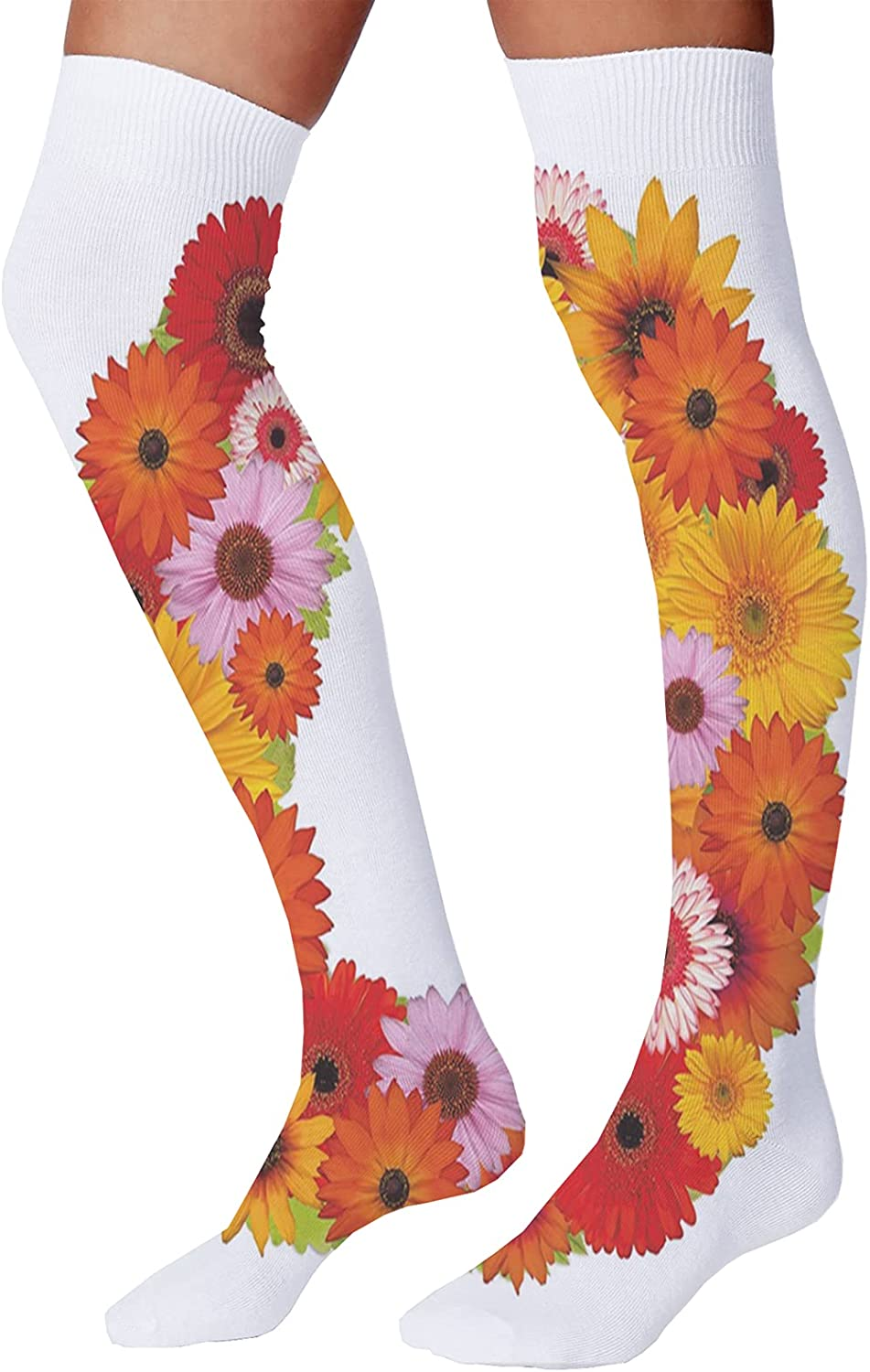 Men's and Women's Fun Socks,Alphabet Themed ABC of Natural World Letter O with Daisies Colors of The Summer