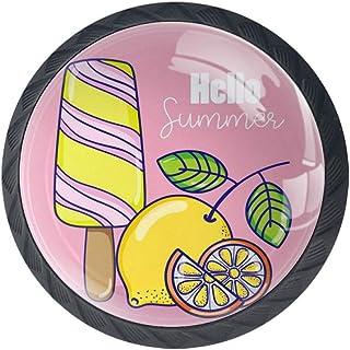 Fondo rosa limón y paleta Perillas de los cajones efecto visual 3D de cristal para armario aparador armarios armarios tira...