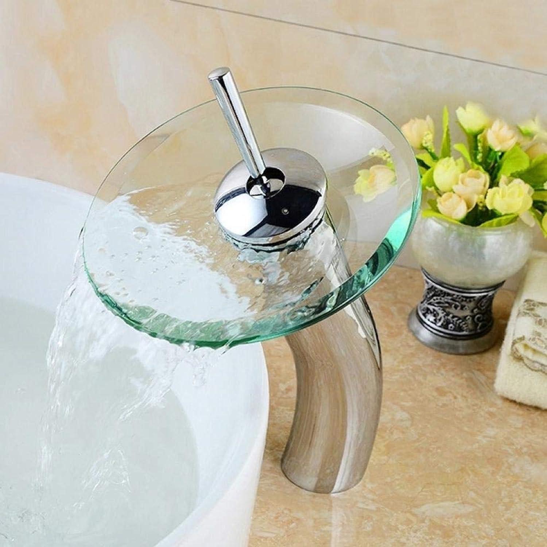 Lddpl Wasserhahn Pilzfrmigen langen hals glas bad wasserfall wasserhahn. Transparentes gef wasserhahn. Bad waschbecken mischbatterie