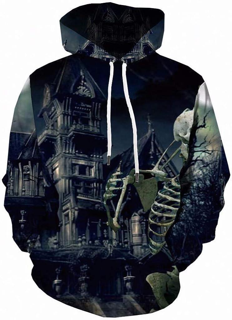 iQKA Mens Casual Halloween Printed Long Sleeve Drawstring Pullover Sweatshirt Hodded Hoodies