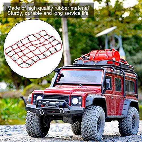 Dilwe Elastisches Gepäck Universelles Gepäcknetz Aufbewahrungsnetz Dachgepäckträger Netz Dehnbares Simulationszubehör für 1/8 1/10 RC Crawler(rot)