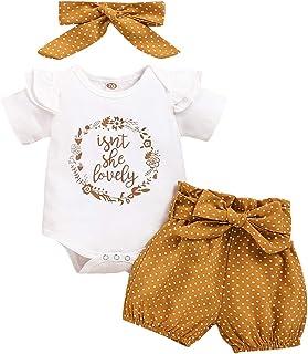 T TALENTBABY Infant Kleinkind Baby Mädchen Langarm Rüschen Bodysuit Strampler  Floral Pants  Bogen Stirnband 3 St¨¹cke Overall Kleidung Outfits Set